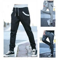 Korean Stylish Pants With Pocket Casual Slim Men Skinny Pants [6544201219]