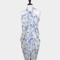Blue & Beige Dolphin Print Pareo / scarf / sarong / wrap / cover up / multi-way scarf / sea life / nautical scarf