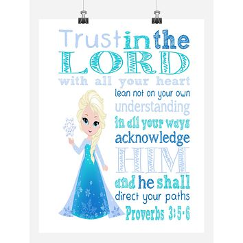 Frozen Princess Elsa Christian Nursery Decor Print, Trust in the Lord with all your heart - Proverbs 3:5-6