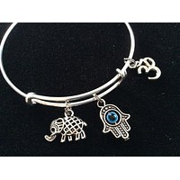 Hamsa Om and Lucky Elephant on a Silver Adjustable Bangle Charm Bracelet Expandable Charm Bracelet