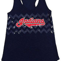 Cleveland Indians Majestic T Back Tank Top Navy Ladies Size M