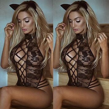 Babydoll  Nightwear Hollow Out Sexy Lingerie