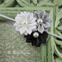 Satin Flower Headband - Silvery Gray, Black, and White Satin Flower Trio w/ Pearls Stretchy Headband - The Emily - Baby Toddler Girl Adult