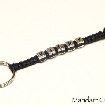 Custom Name Keychain, Hemp and Cotton Macrame Key Chain for Couples or Best Friends, Fully Personalized Anniversary Gift