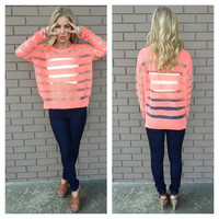 Neon Coral Stripe Light Knit Sweater Top