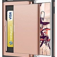 iPhone 6S Case, iPhone 6 Case, SAMONPOW Hybrid iPhone 6 Wallet Case Card Holder Shell Heavy Duty Protection Defender Shockproof Anti-Scratch Soft Rubber Bumper Cover Case for iPhone 6/6S - Rose Gold
