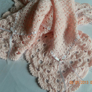 Precious pink hand crocheted shell and picot baby blanket with white etched ribbon/Nursery/Paton yarn/Newborn/Christening/Infant/FREE SHIP