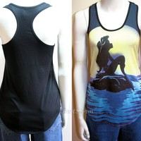Licensed cool Disney Little Mermaid ARIEL on Rock Sunset Moon Sun Muscle Tank Top Shirt XS S