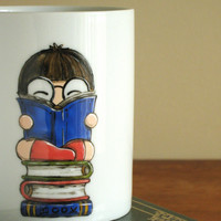 "Big Mug ""I like big books and I cannot lie"" - hand painted in Italy"