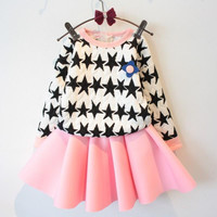 2015 Spring Autumn New Girls Sets Girls Long-sleeved Stars Sweaters+Skirt 2 Piece Clothing Sets.