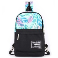Vere Gloria Unisex Fashion School Travel Hiking Backpacks, Hit Color Casual Back Packs for Middle High School College Students Teenager Girls Boys (Feather)