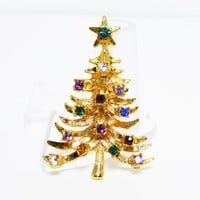 Vintage Rhinestone Christmas Tree Pin - Mult Colored Rhinestones, Star Tree Topper - Vintage 1960s Winter Holiday Jewelry - Christmas Brooch