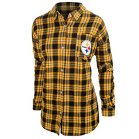 Pittsburgh Steelers Wordmark Basic Flannel Long Sleeve Shirt Women's Sizes S-XL w/ Priority Shipping