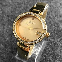 GUCCI Diamond Trending Women Men Letter Print Watch Stylish Business Watch Gold