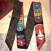 Limited Edition LOUIS VUITTON KABUKI Stickers Monogram Silk Scarf Bandeau Red