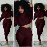 Textured Cowl Neck Dolman Sleeves Crop Top and High-Waist Pants