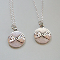 2 Pinky Promise Pinky Swear Best Friends BFF His And Hers Couples Girlfriend Boyfriend  Necklaces