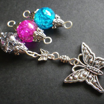 Rear View Mirror Charm- Window Charm- Car- Accessory- Butterfly- Choose Your Color- Pink- Gray- Blue- Birthday- Gift for Her- Teen- Women