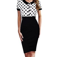Senfloco Women's Vintage Polka Dot Contrast Party Office Pencil Bodycon Dress