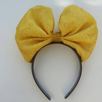 Minnie Mouse Bow Headband in Belle yellow