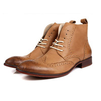 British boy! New 2014 men's boots, men's genuine leather boots, dress boots. Fashion boots Free shipping + gift .Pale yellow and grey