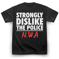 "Censored NWA T-Shirt ""Strongly Dislike the Police"" F*ck the Police Funny Hip-Hop Ice Cube Dr Dre Eazy E Tupac 2pac Kendrick Lamar Snoop Dogg"
