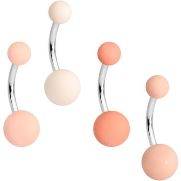 Matte Peaches and Cream Belly Ring Set of 4