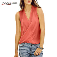 KaigeNina New Fashion Hot Sale Women Sleeveless Chiffon Shirt Blouse Casual Chic Lady Tops 1045