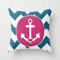 Chevron Anchor Throw Pillow by PinkBerryPatterns