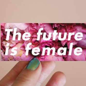 The Future is Female Vinyl, Weatherproof Sticker in Pink Floral