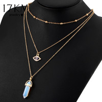 17KM Natural Opal Stone Evil Eyes Necklaces Vintage Summer Bohemian Choker Pendant Multi Layer Crystal Necklace Bijoux for Wome