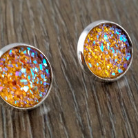 Druzy earrings- ab honey orange drusy silver tone stud druzy earrings