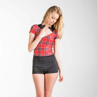 Short Sleeve One Piece Swimsuit Rash Guard - Red Plaid
