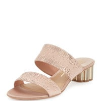 Salvatore Ferragamo Bellunos Embellished Two-Band Mule Sandal, Pink