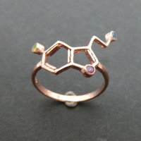 Rose Gold Coating Silver Serotonin Ring  - Geeky Ring - Holidays, Valentines Day, Spring Wedding, Mother Day Gift