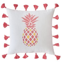 Southern Tide Coastal Ikat Tasseled Pineapple-Embroidered Cotton Square Feather Pillow | Dillards
