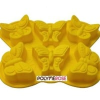 Polymerose Silicone BUTTERFLY Mold Pan for Crafts, Pastry and Baking. (6 Cavity) - By Polymerose T.M.