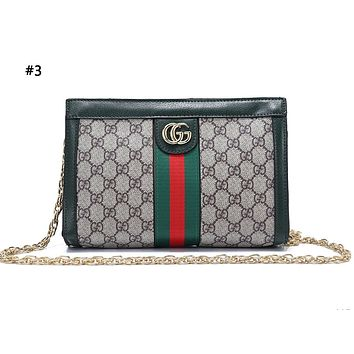 GUCCI fashion hot seller lady's casual print patchwork color single shoulder shopping bag #3