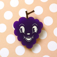 Gertrude Grape Brooch - laser cut acrylic - Kitsch Vintage 50s Anthropomorphic Novelty Statement Pin Purple Fruit Retro Cute Fun Food Kawaii