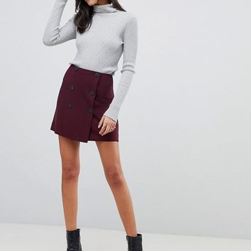 ASOS DESIGN Double breasted ponte a-Line mini skirt at asos.com