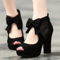 Fashion Black Elegant Bowknot Peep Toe High Heel Shoes