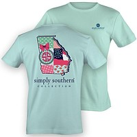SALE Simply Southern Georgia Preppy State Peach Pattern T-Shirt