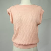 1980s coral sweater, acrylic knit short sleeve loose fit light weight pull over top, Keneth too, Small to medium