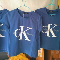 Calvin klein jeans Hot sexy letters printing female sweater pullovers Blue tee shirt H Z