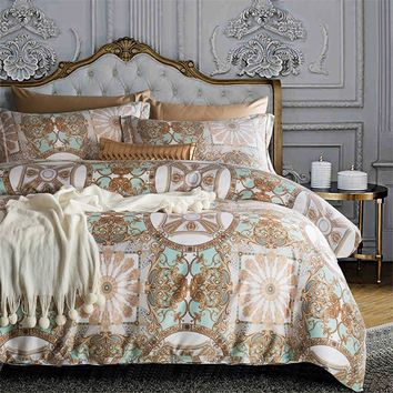 Luxury Egyptian cotton Bohemia bedding set queen king size satin duvet cover sets Europe style bed linen bedclothes pillowcase