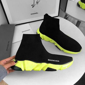 Balenciaga Trainers Sneakers Sock shoes knitting Shoes Black (Fluorescent green soles)