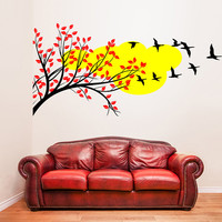Vinyl Wall Decal Tree Branch with Leafs, Birds and Cloud / Color Nature Art Decor Sticker / Forest DIY Mural  + Free Random Decal Gift!
