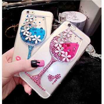 3D Diamond Bling Drinking Glass Dynamic Liquid Transparent Clear Case For iPhone