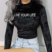 T-shirts Winter Women's Fashion Long Sleeve Velvet Alphabet Crop Top Bottoming Shirt [122001063951]