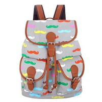 Multi Grey red blue green yellow colors  Vintage Rucksack Printing Canvas Women Backpack School Bag